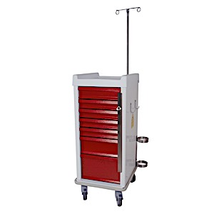 MR-Conditional Narrow Seven Drawer Emergency Cart Breakaway Lock Specialty Package