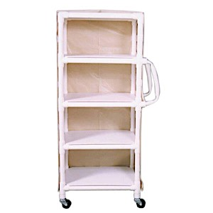 MRI CONDITIONAL NARROW 4-SHELF LINEN CART WITH MESH OR VINYL COVER