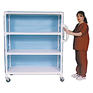 MR EXTRA-WIDE 3-SHELF LINEN CART WITH MESH OR VINYL COVER