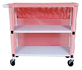Wide 2-Shelf Linen Cart with Mesh or Vinyl Cover