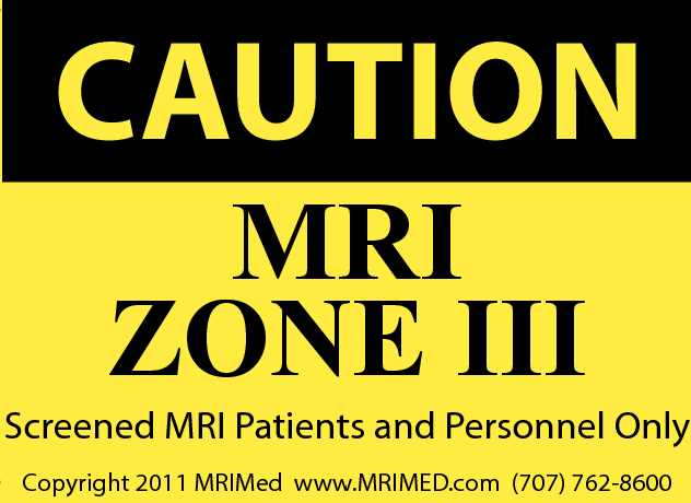 MRI Zone III Sign (Small)