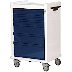 MRI-Conditional Six Drawer Anesthesia Cart Key Lock Standard Package