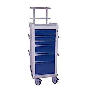 MR-Conditional Narrow Six Drawer Anesthesia Cart Key Lock Specialty Package